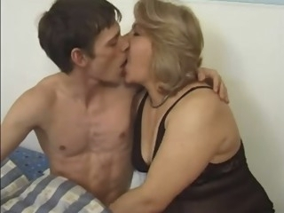 European Mature MILF seducing a young boy to fuck her blonde films