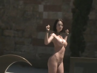 Shackled naked slut posing in public public films