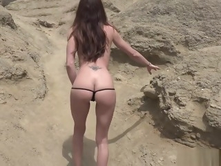 Spanish MILF gets nude at beach behind the scenes mature films