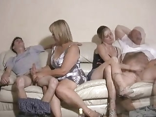 Mother and daughter jerking two guys off amateur films
