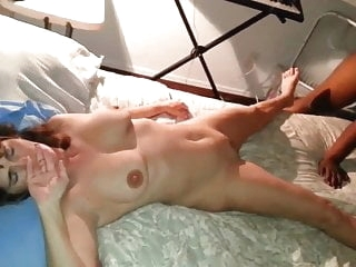 Wife not happy nervous as black cock fucks and creampies her brunette films