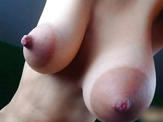 Girl play with her big juicy boobs webcam films