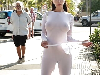 Transparent dress in public brunette films