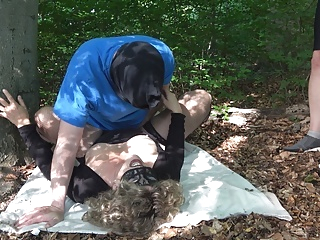 Jessica gets multiple creampies from 3 guys in the woods amateur films